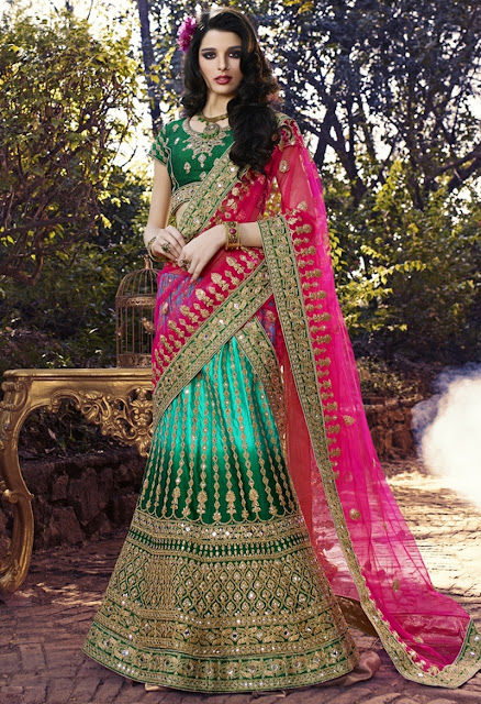 Green Art Silk Embroidered Wedding Lehenga