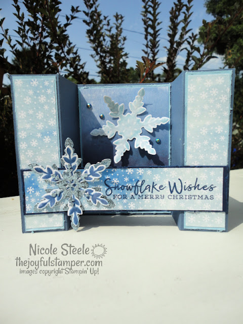 bridge fold card, card fun folds, snowflake wishes, snowflake splendor, stampin' up!, winter cards, christmas cards, handmade cards, nicole steele, stampin' up! independent demonstrator, the joyful stamper, pittsburgh pa