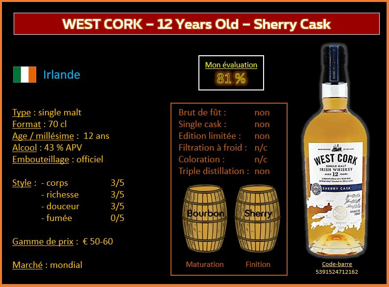 Review #675  : West Cork – 12 Years Old – Sherry Cask Finnish