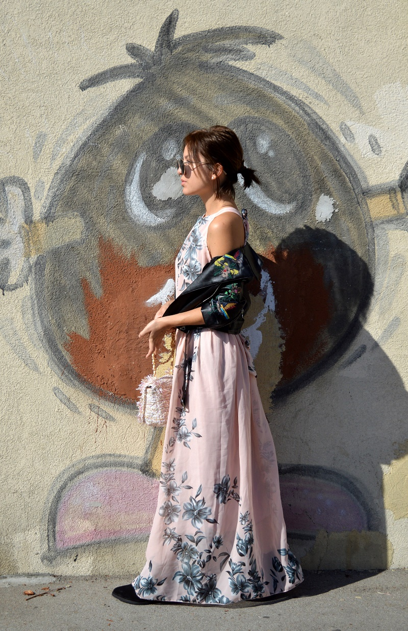 outfit how to style floral dress for fall