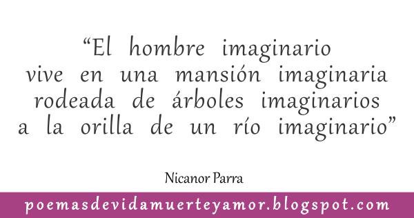 verso del Poema de amor de Nicanor Parra - El hombre imaginario