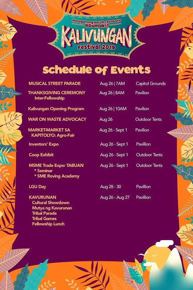 Kalivungan Festival 2019 Schedule of Activities