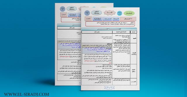 أحدث جذاذات التربية الإسلامية للمستوى الخامس وفق المنهاج المراجع الجديد