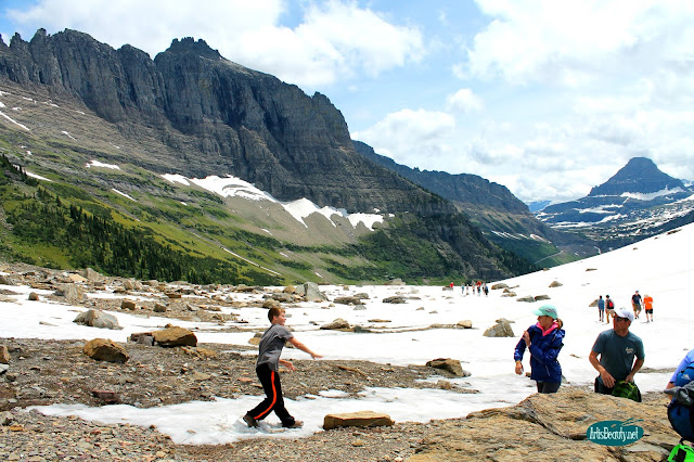 snowball fight highline trail glacier national park montana kids family summer vacation hiking trip mountains beauty nature outdoors