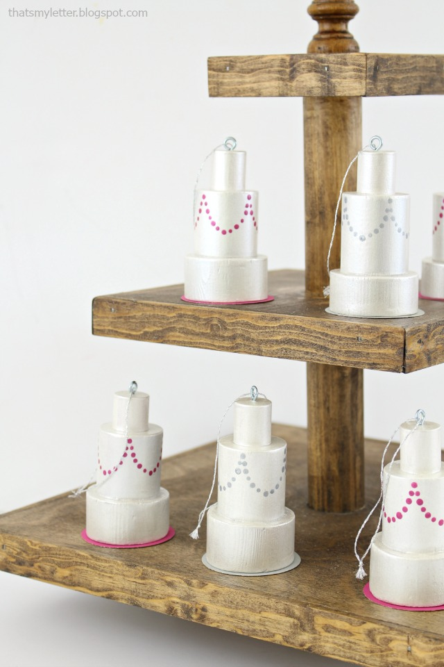 wedding cake ornaments displayed
