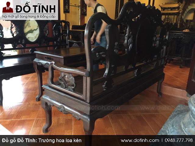 Bộ ghế hoa loa kèn - Gỗ gụ mật - Mẫu ghế trường kỷ gỗ đẹp 2017