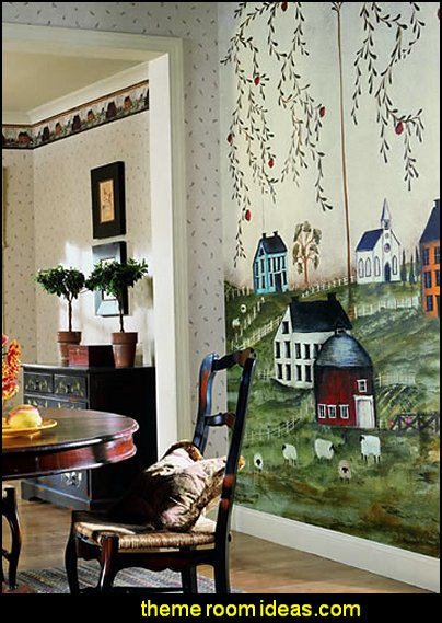 Primitive Country Scenery Giant Wallpaper Accent Mural