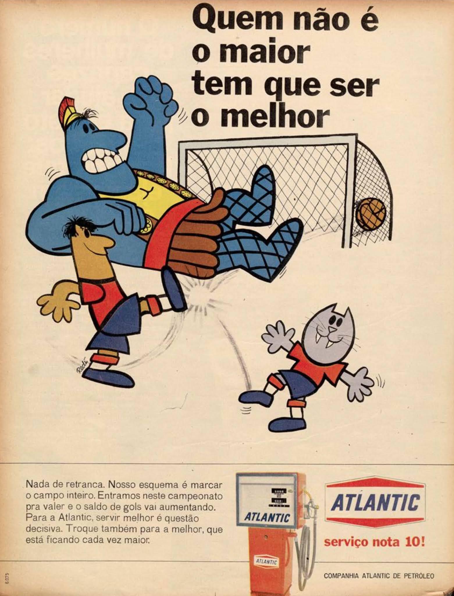 Anúncio veiculado em 1970 promovendo a rede de postos Atlantic