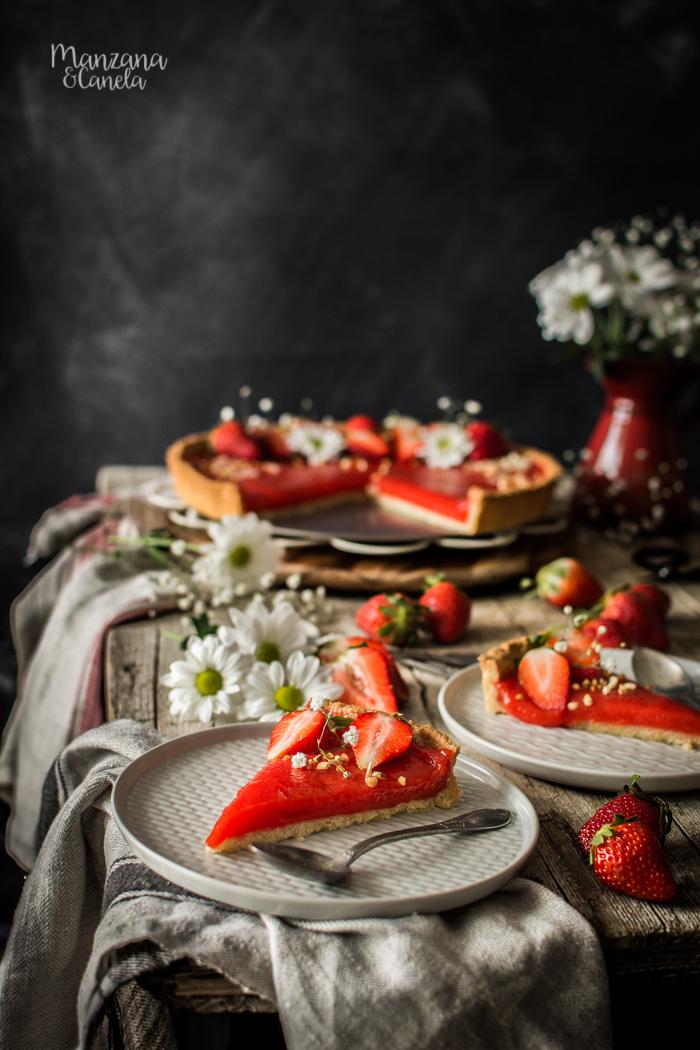 Tarta de fresa y almendra