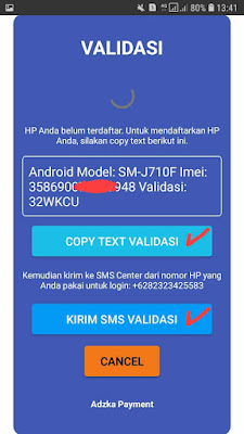 Kirim text Validasi adzka payment