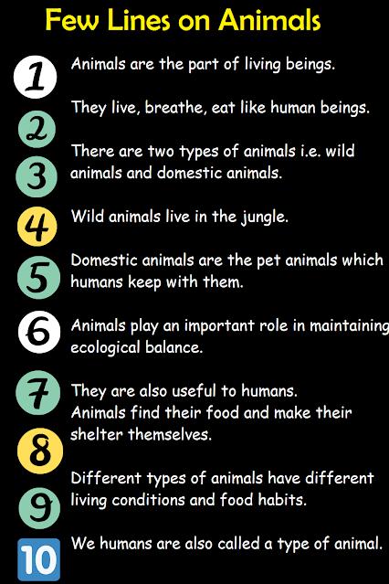 Short 10 lines essay on animals