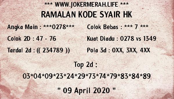 Prediksi HK Malam Ini Kamis 09 April 2020 - Joker Merah HK