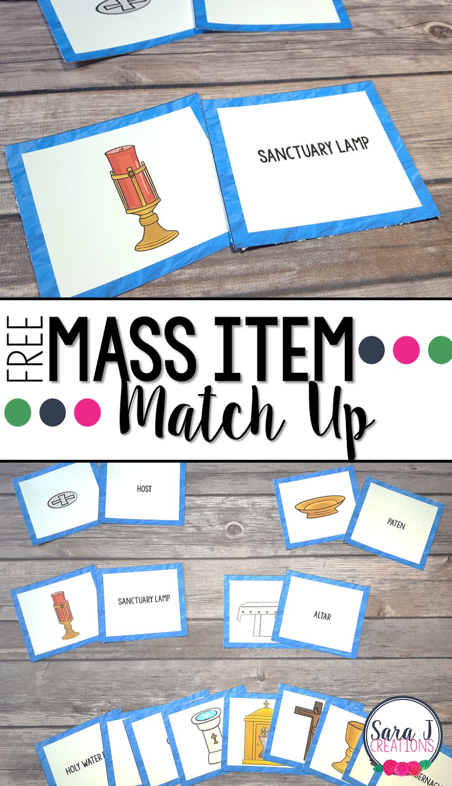 Free matching game for some of the items commonly found in the Catholic mass. Perfect for children to learn the proper names.