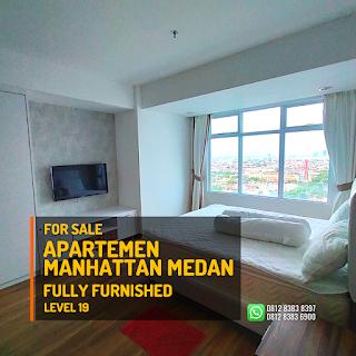 Kamar Tidur 1 Unit Apartemen Murah Fully Furnished - Tinggal Bawa Koper - The Manhattan Condominium dan Apartemen Ring Road Medan