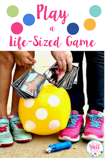 Use inflatable dice and sidewalk squares to make the students themselves a game marker in speech and language therapy!