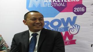 Direktur Pengembangan Usaha TVRI, Adam Bachtiar saat press conference Indonesia Marketeers Festival 2016 di Kasablanka, Jakarta, Kamis (17/3). (Bertasatu.com/Siti Arpiah)
