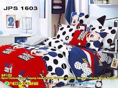 Sprei Custom Katun Jepang Anak Kartun Karakter Polkadot Mickey Polkadot Merah Putih Biru