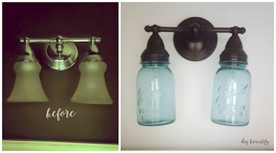 Transform an ugly light fixture into a stunner with just paint and mason jars!
