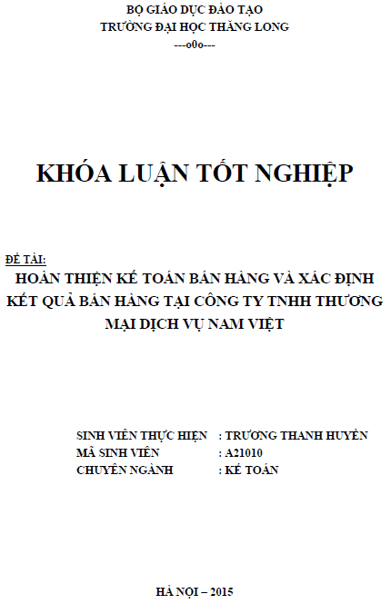 Hoàn thiện kế toán bán hàng và xác định kết quả bán hàng tại Công ty TNHH Thương mại Dịch vụ Nam Việt