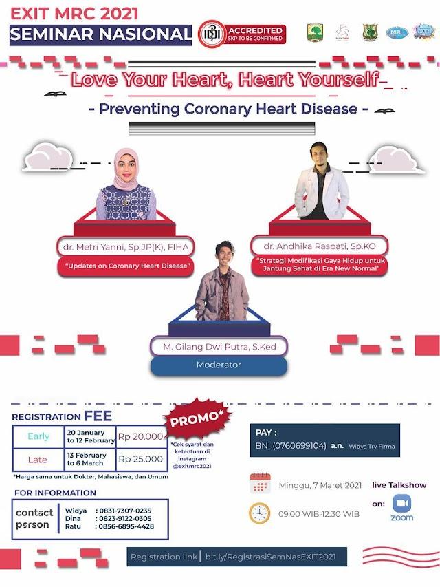"""SEMINAR NASIONAL EXIT MRC 2020 """"Preventing Coronary Disease"""" (SKP IDI)"""