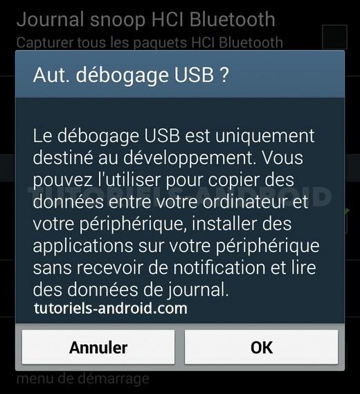 Autoriser le débogage USB