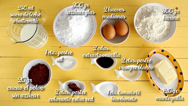 Ingredientes bizcocho red velvet sabroso
