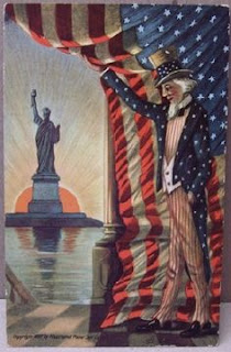 American Flag curtain, Statue of Liberty vintage greeting card