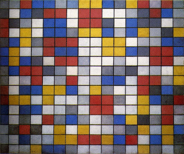 Mondrian Composition with Grid 9; Checkerboard with Light Colors(1919)