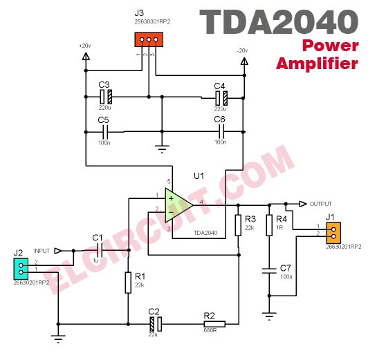tda2040 power amplifier circuit electronic circuit CPS Energy Savers schematic diagram of energy saver
