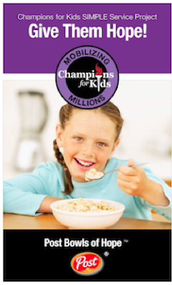 champions for kids, post bowls of hope, SIMPLE Service project
