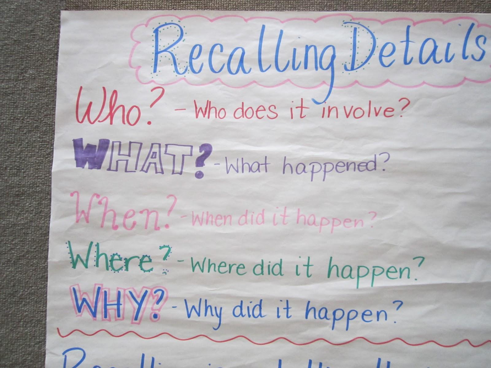 Miss A S Class Ideas Recalling Details The 5 W S