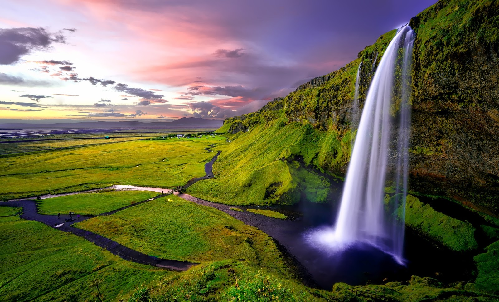 time-lapse-photography-of-waterfalls-during-sunset-nature-pictures