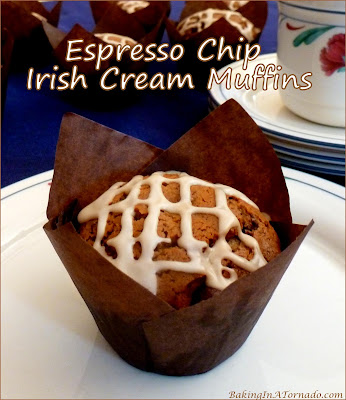 Espresso Chip Irish Cream Muffins, have your coffee and eat it too. | Recipe developed by www.BakingInATornado.com | #recipe #breakfast