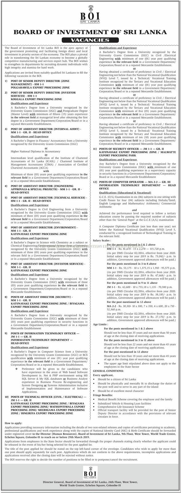 Vacancies at BOI