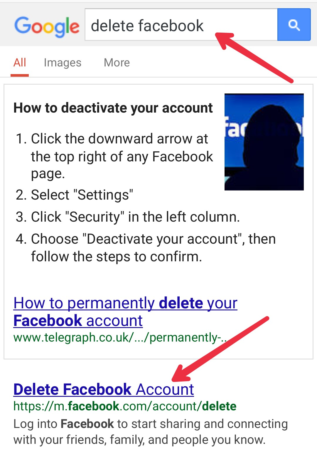 How to delete facebook account from mobile biswajit2 surch hone ke bath niche bahut reselt so hoga usme apko delete facebook account ka ek article melega usko open kare ccuart Gallery