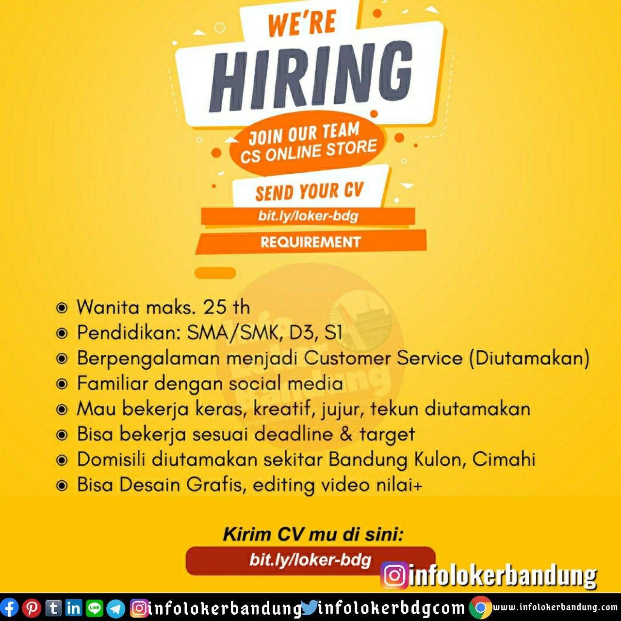 Lowongan Kerja CS Online Store Bandung Mei 2020
