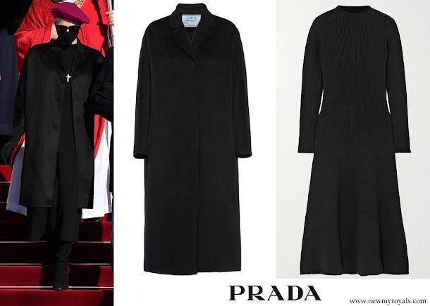 Princess Charlene wore PRADA cashmere coat and ribbed wool-blend midi dress
