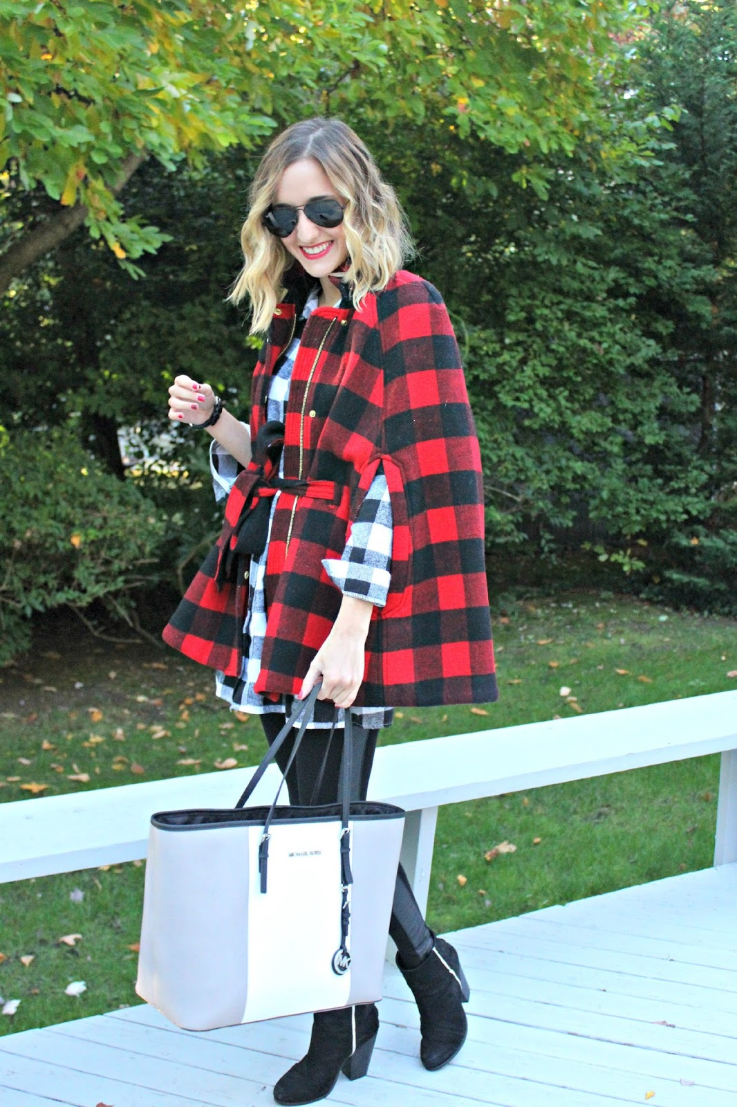 buffalo plaid cape outfit