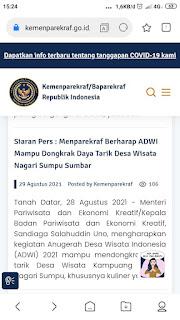 Waduh, Website Kemenparekraf/Baparekraf Menu Berita Terbaru Bertuliskan 404.