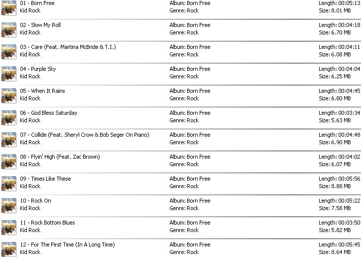 DOWNLOAD LENGKAP FULL ALBUM KID ROCK 1990 - 2015 (RAR/ZIP
