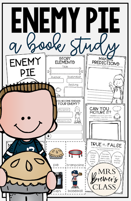Enemy Pie book study literacy unit with Common Core companion activities and a  craftivity for Kindergarten, First Grade and Second Grade