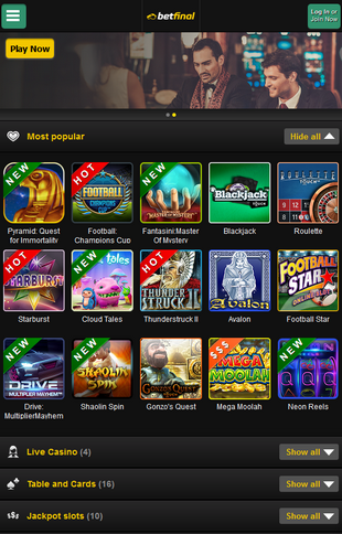 Betfinal Casino Mobile Screen