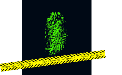 Glowing fingerprint and crime scene yellow tape
