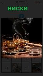 виски в стаканах и сигарета