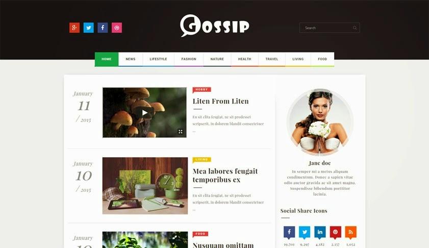 gossip blogger template -  modern , stylish, professional free premium best download blogspot themes, seo ready portfolio xml, html, html5 code