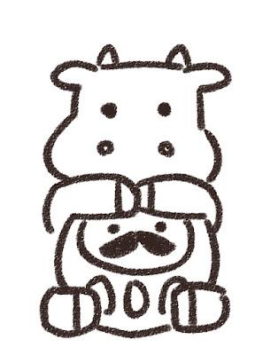 ダルマを抱えた牛のイラスト(丑年・白黒線画)