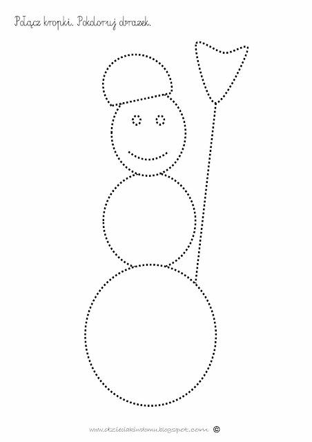 bałwanek zimowa karta pracy dla dzieci połącz kropki