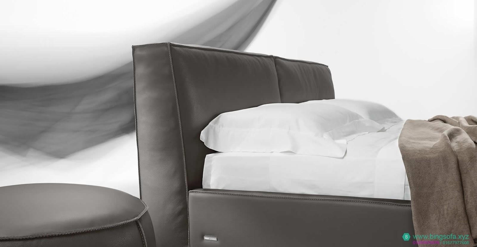 Mẫu giường ngủ bọc da cao cấp GN23