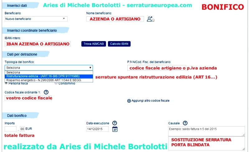 Sostituzione serrature venezia pronto intervento fabbro h for Bonifico ristrutturazione