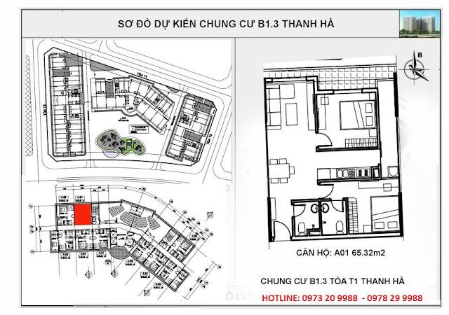 Sơ đồ mặt bằng chi tiết căn hộ A01 tòa T1 chung cư B1.3 Thanh hà
